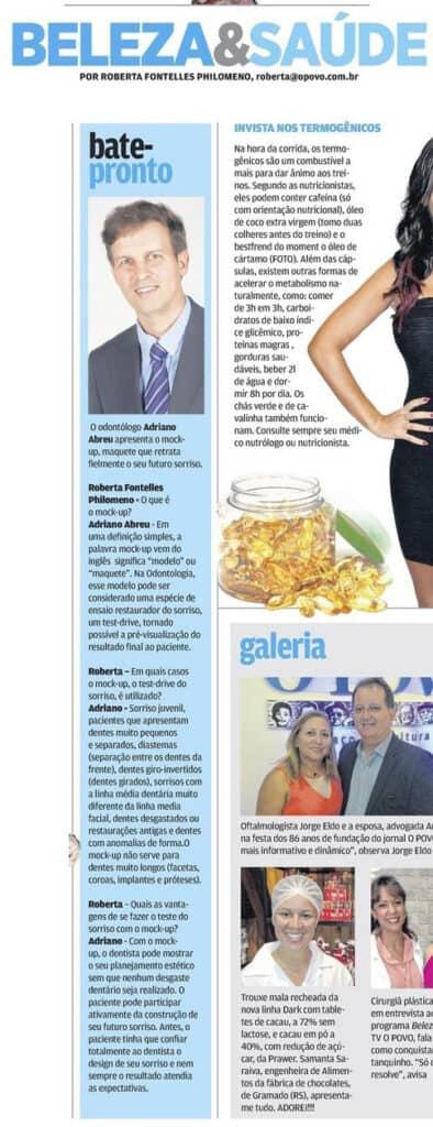 Bate pronto sobre moco-up no caderno beleza e saúde do Jornal O Povo