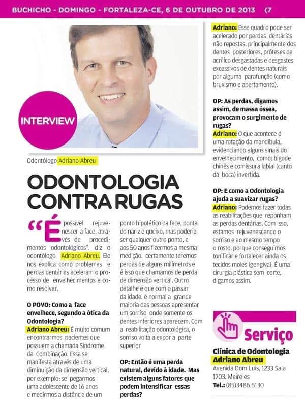 Entrevista para o jornal O Povo sobre Odontologia contra rugas.