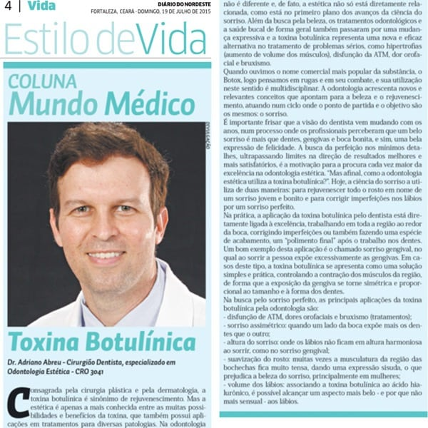 Toxina Botulínica (Botox) – Jornal Diário do Nordeste (Caderno Mundo Médico)